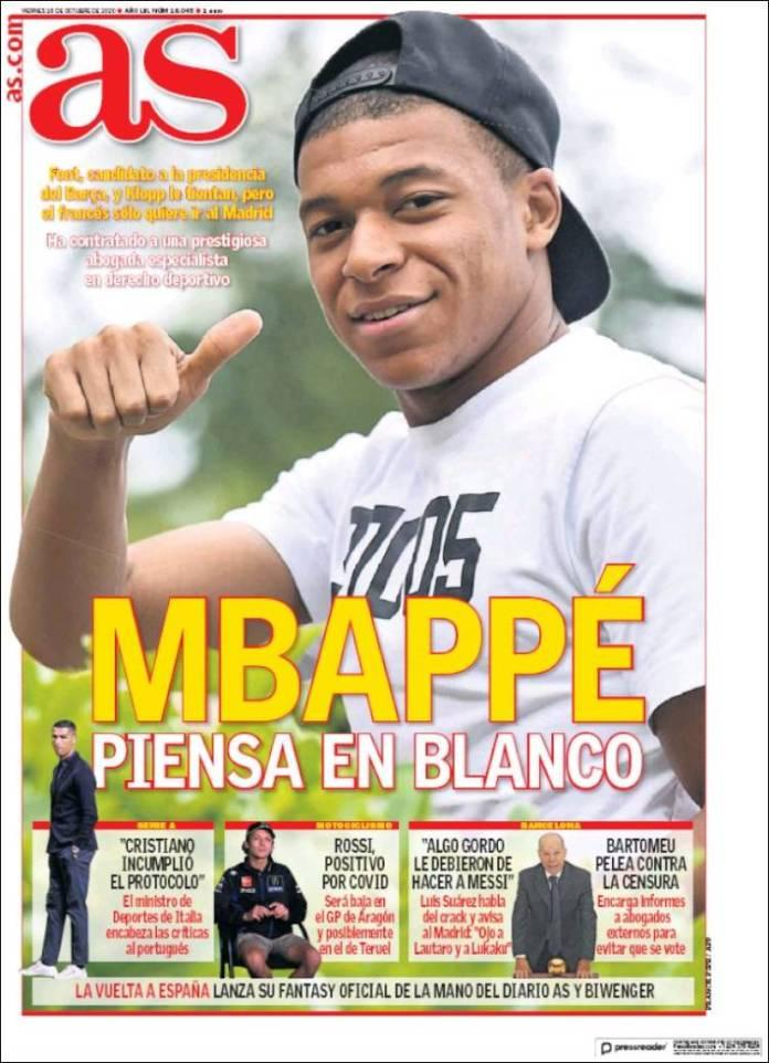 Portadas Diarios Deportivos Viernes 16/10/2020