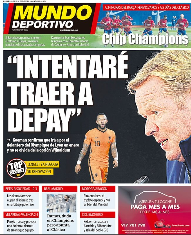 Portadas Diarios Deportivos Lunes 19/10/2020