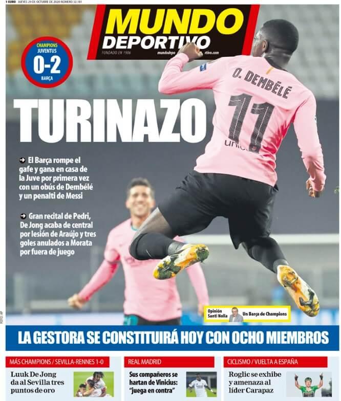 Portadas Diarios Deportivos Jueves 29/10/2020