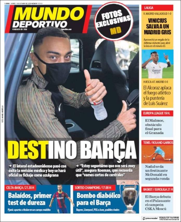 Portadas Diarios Deportivos Jueves 1/10/2020