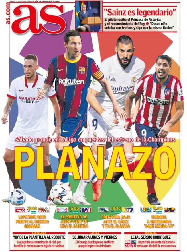 Portadas Diarios Deportivos Sábado 17/10/2020
