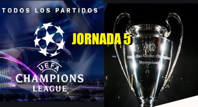 Partidos Jornada 5 Champions League 2020-21 | Horarios y TV