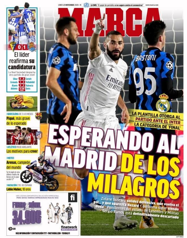 Portadas Diarios Deportivos Lunes 23/11/2020
