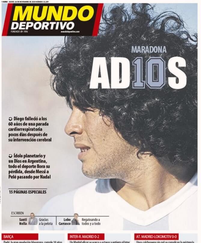 Portadas Diarios Deportivos Jueves 26/11/2020 muere diego maradona prensa mundial