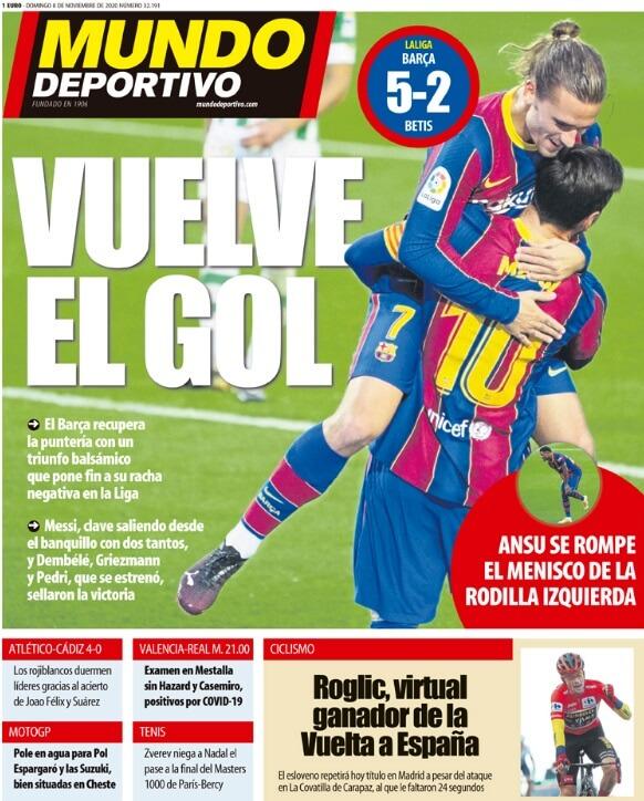 Portadas Diarios Deportivos Domingo 8/11/2020
