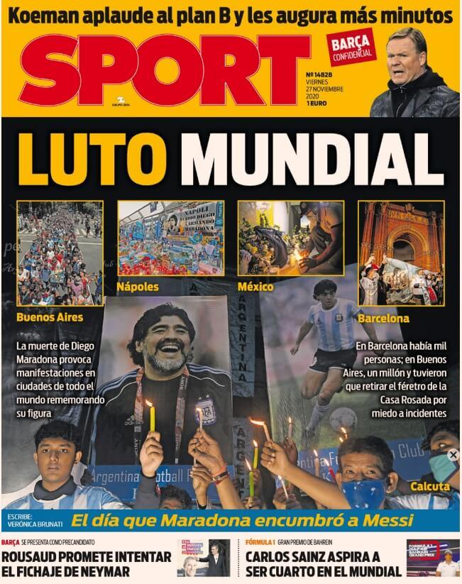 Portadas Diarios Deportivos Viernes 27/11/2020