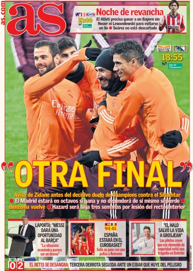 Portadas Diarios Deportivos Martes 1/12/2020