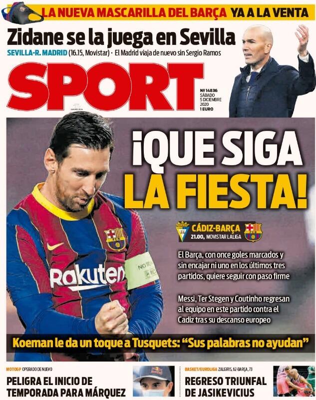 Portadas Diarios Deportivos Sábado 5/12/2020