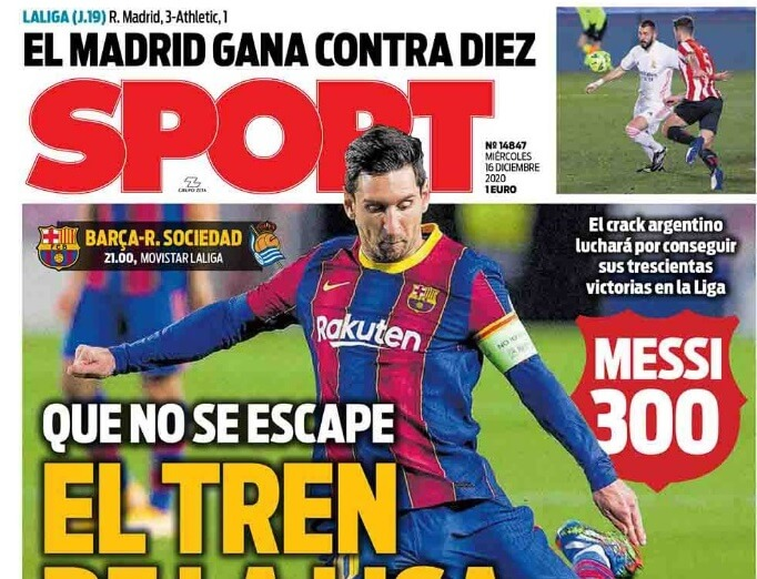 Portadas Diarios Deportivos Miércoles 16/12/2020 | Marca, As, Sport, Mundo Deportivo