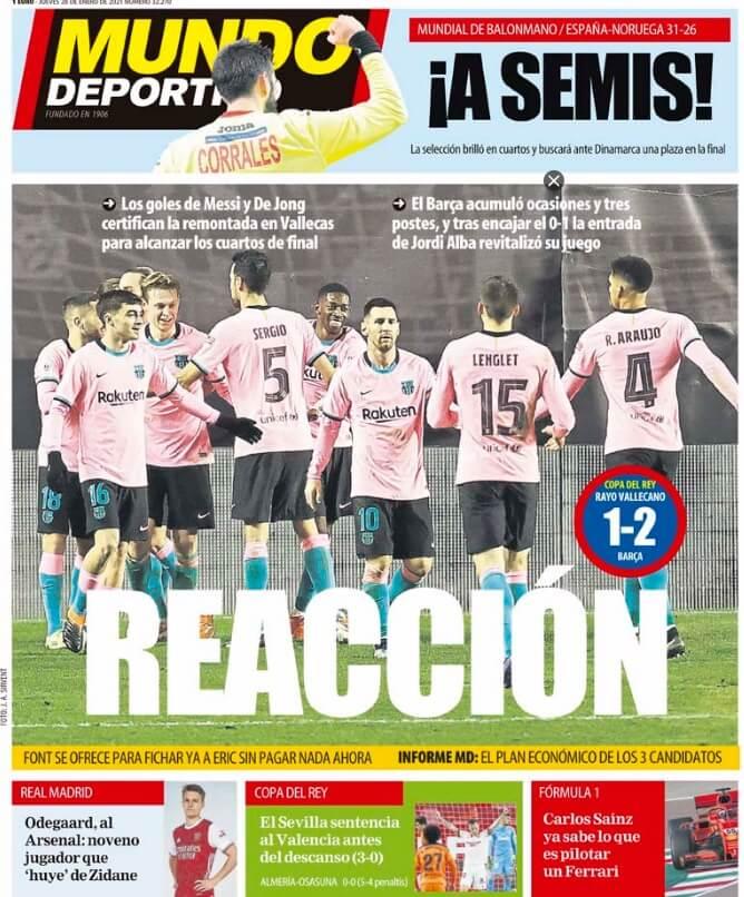 Portadas Diarios Deportivos Jueves 28/1/2021