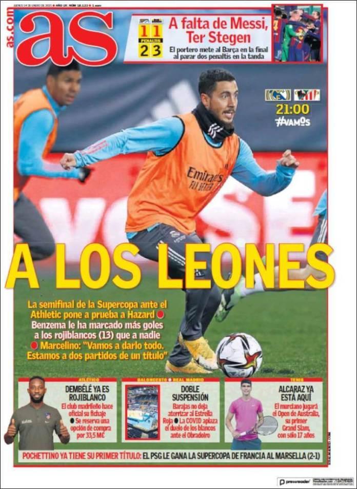 Portadas Diarios Deportivos Jueves 14/1/2021