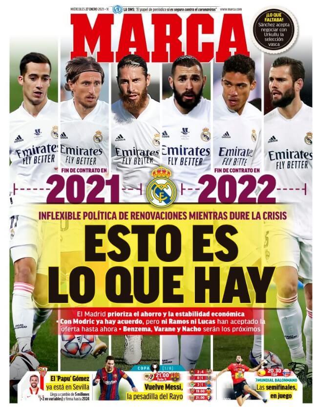 Portadas Diarios Deportivos Miércoles 27/1/2021