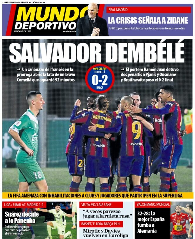 Portadas Diarios Deportivos Viernes 22/1/2021