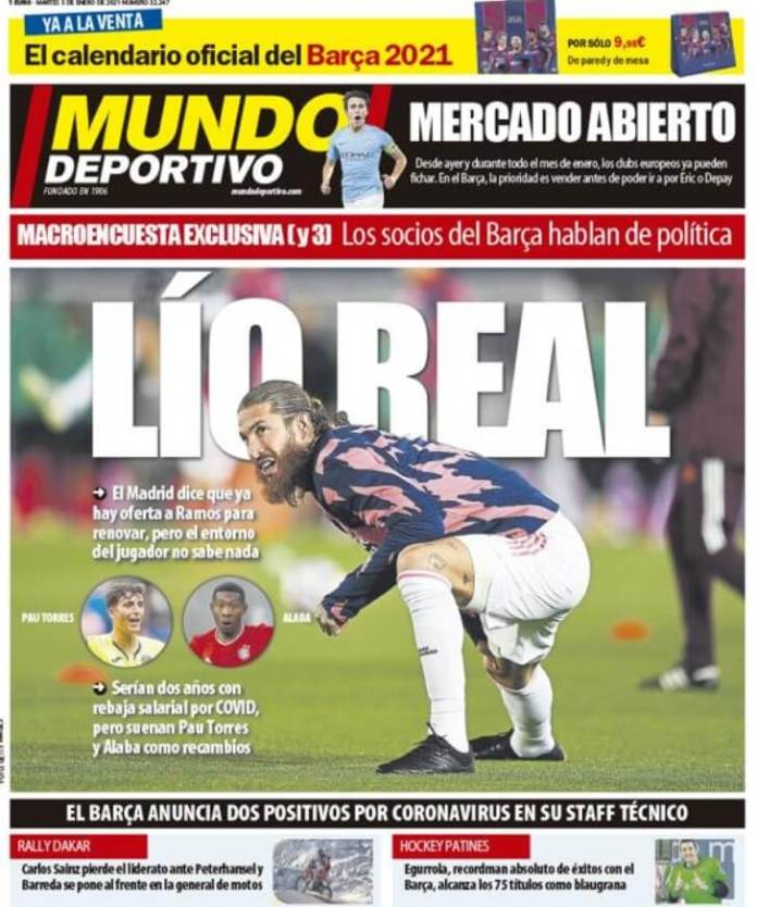 Portadas Diarios Deportivos Martes 5/1/2021
