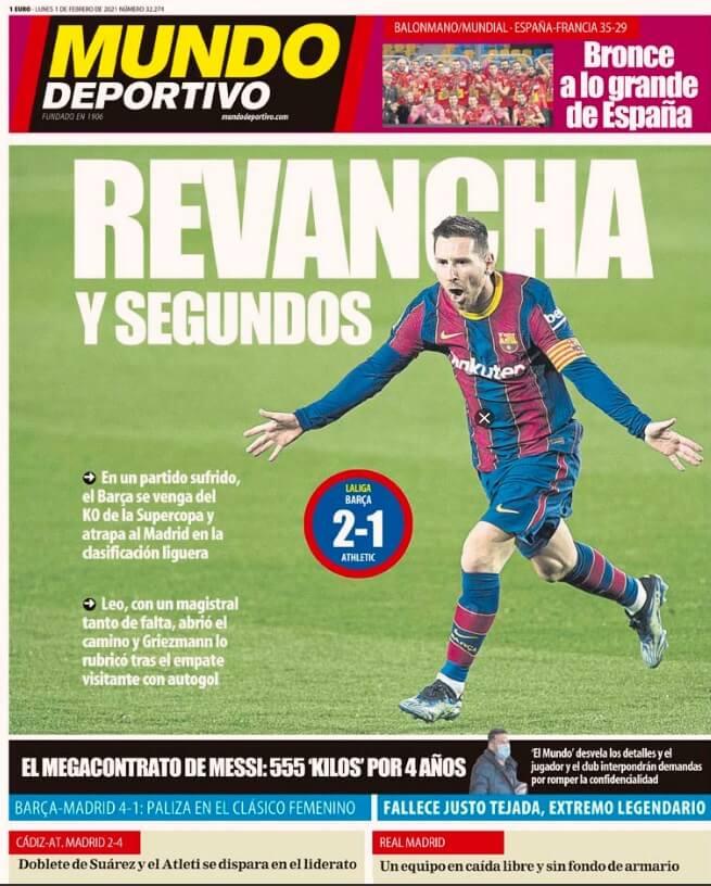 Portadas Diarios Deportivos Lunes 1/2/2021