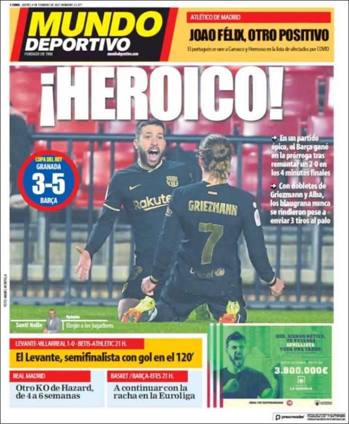 Portadas Diarios Deportivos Jueves 4/2/2021