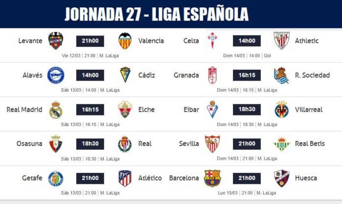 Partidos Jornada 27 Liga Española 2021