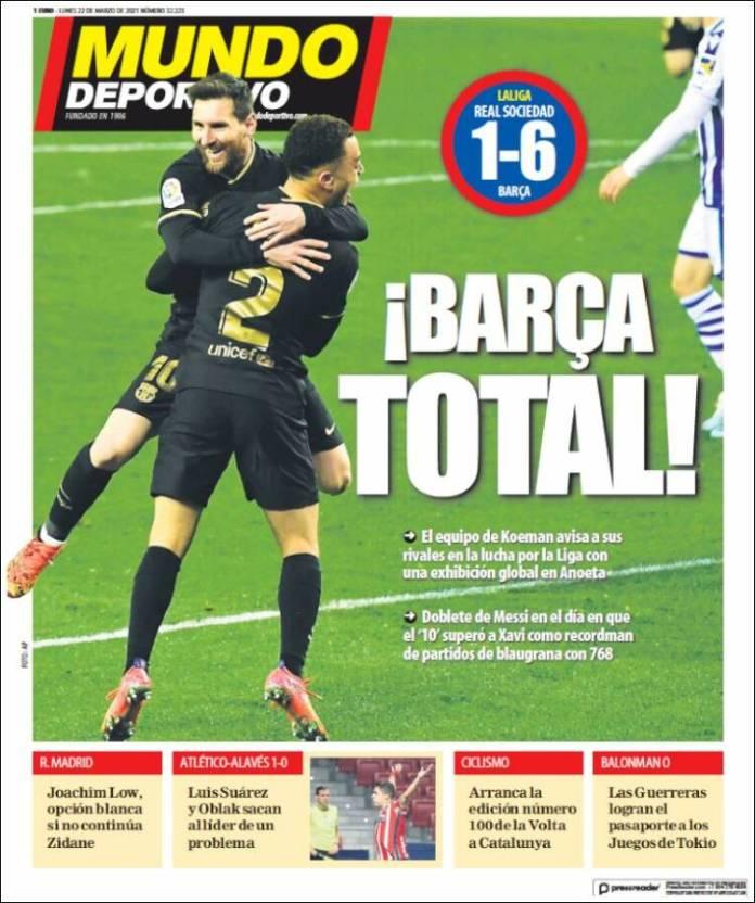Portadas Diarios Deportivos Lunes 22/3/2021