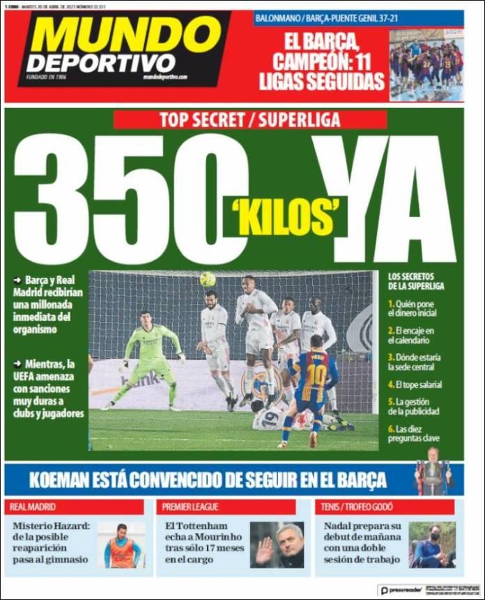 Portadas Diarios Deportivos Martes 20/4/2021