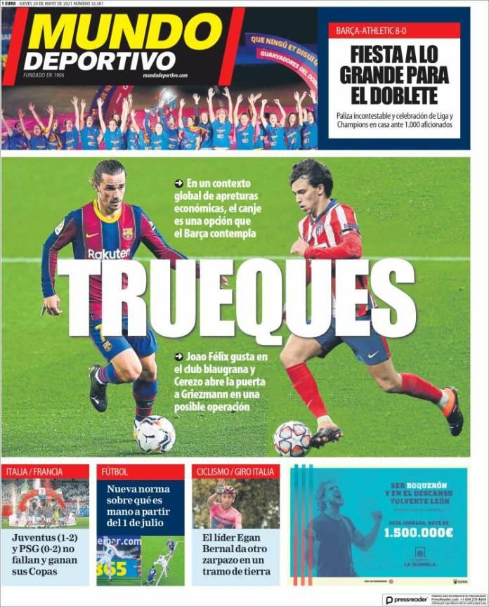 Portadas Diarios Deportivos Jueves 20/5/2021