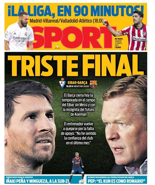 Portadas Diarios Deportivos Sábado 22/5/2021