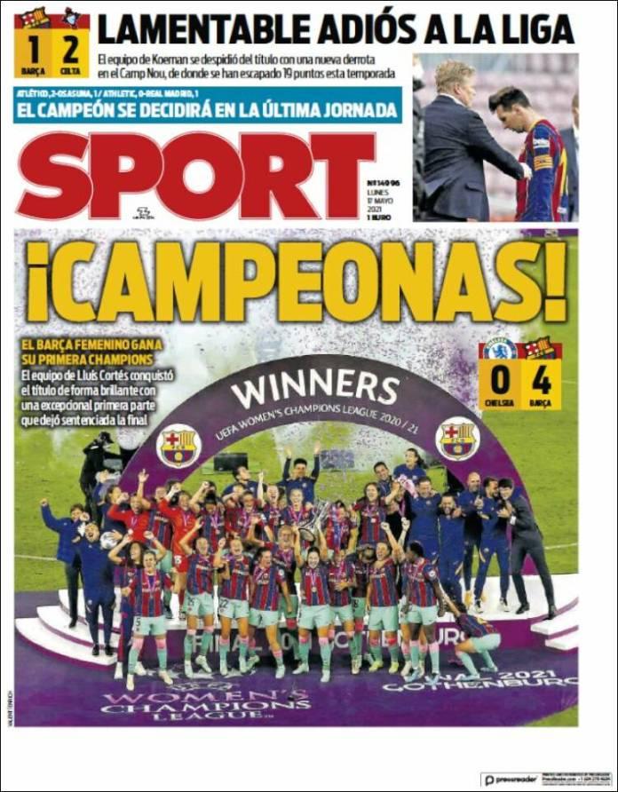 Portadas Diarios Deportivos Lunes 17/5/2021