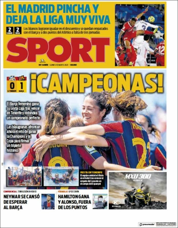 Portadas Diarios Deportivos Lunes 10/5/2021