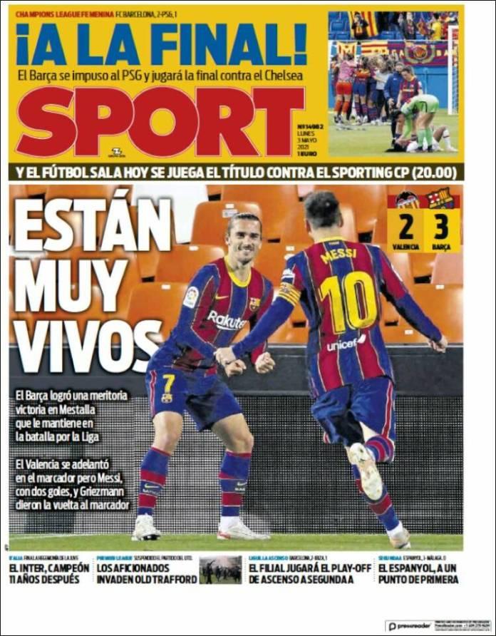 Portadas Diarios Deportivos Lunes 3/5/2021