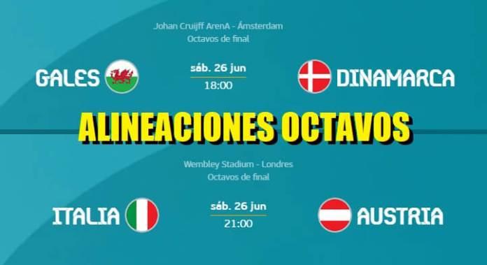 Alineaciones Octavos Eurocopa 2021