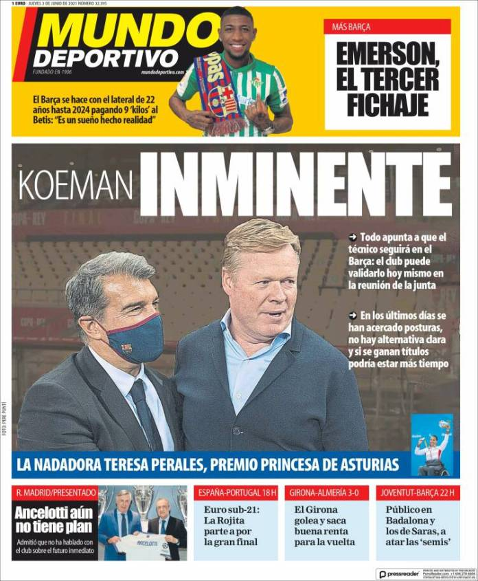 Portadas Diarios Deportivos Jueves 3/6/2021