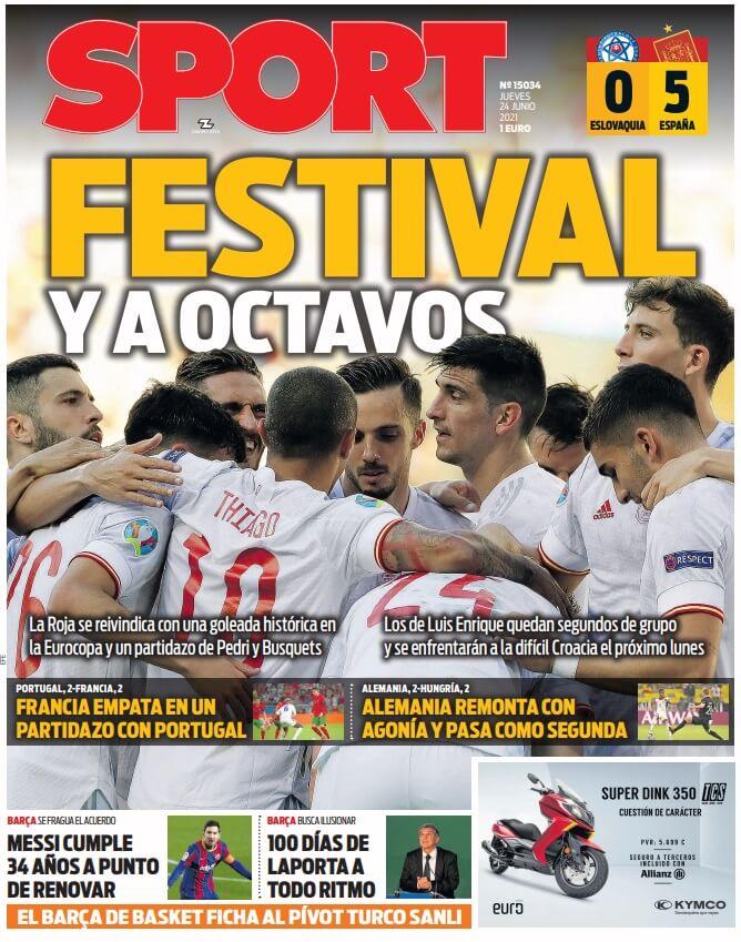 Portadas Diarios Deportivos Jueves 24/6/2021