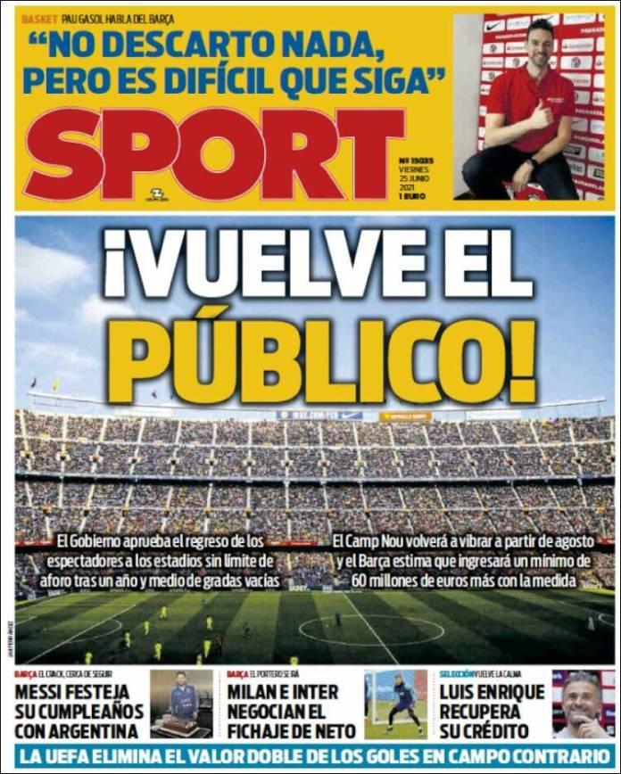 Portadas Diarios Deportivos Viernes 25/6/2021