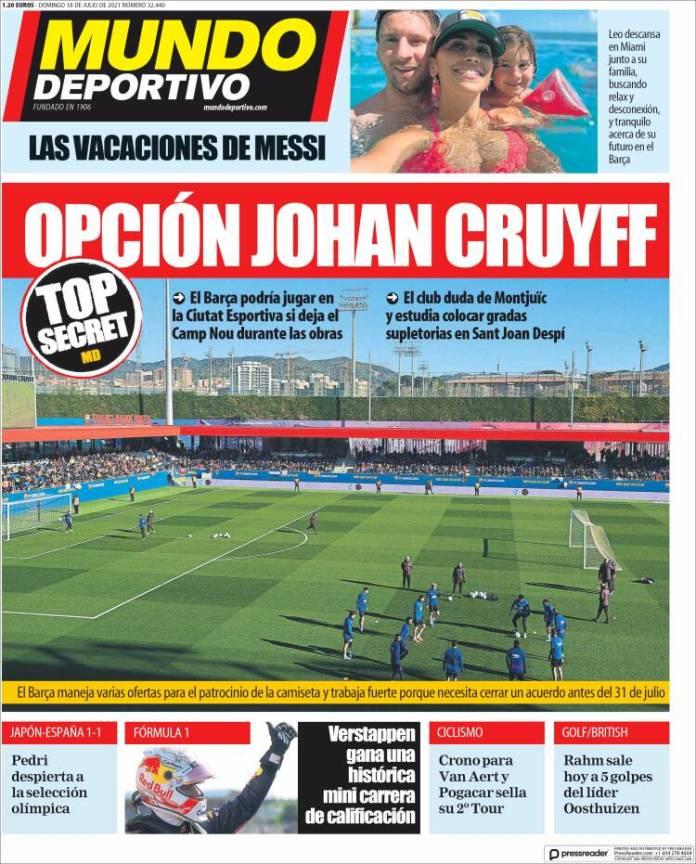 Portadas Diarios Deportivos Domingo 18/7/2021