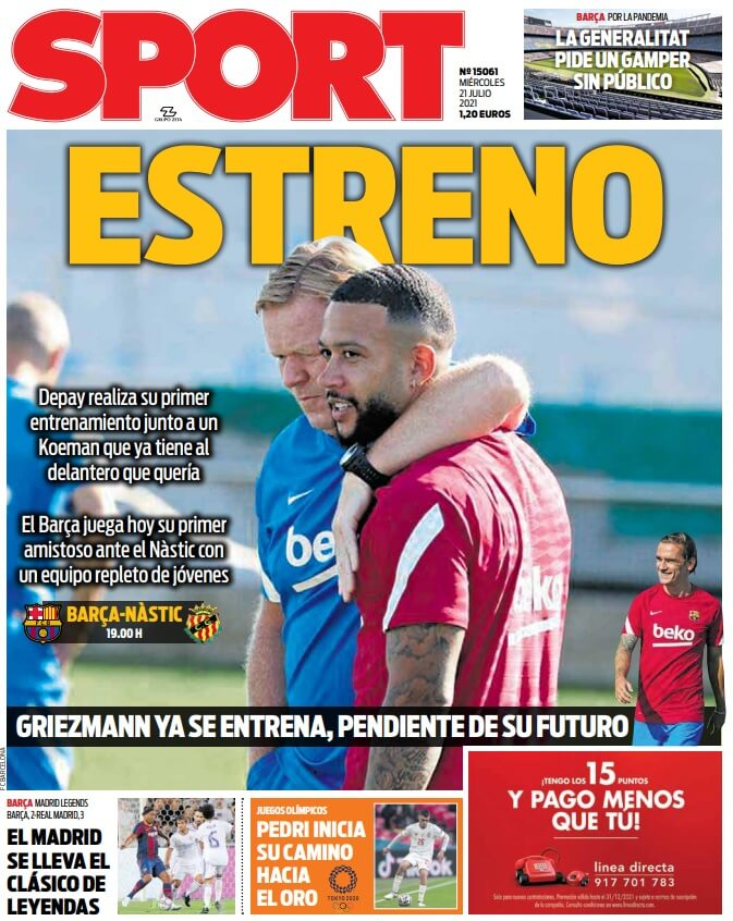 Portadas Diarios Deportivos Miércoles 21/7/2021