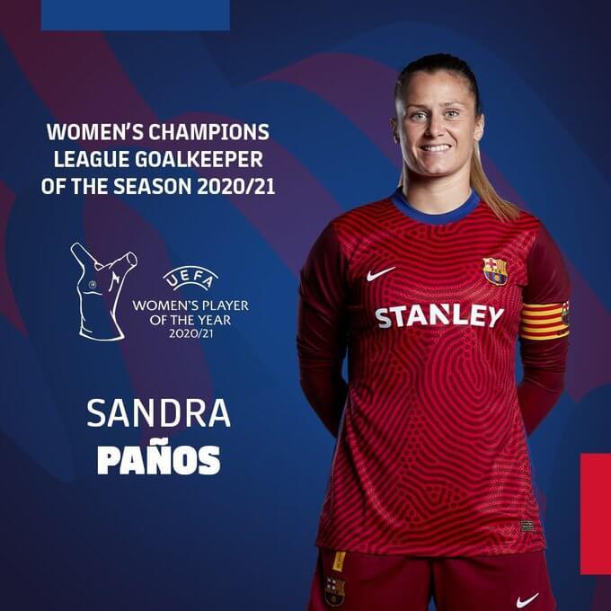 Sandra Paños (Barcelona) Mejor Portera 2021