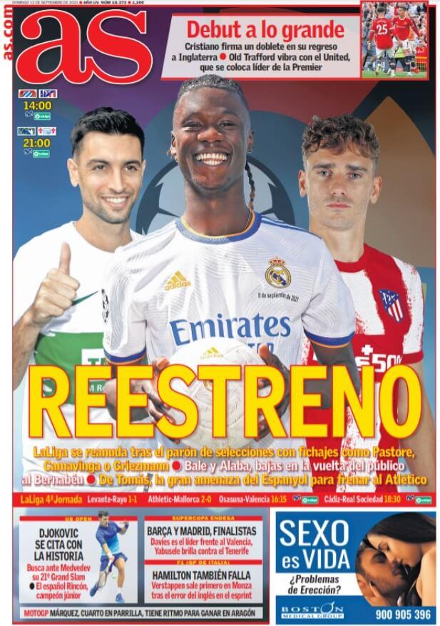 Portadas Deportivas de España 12/9/2021