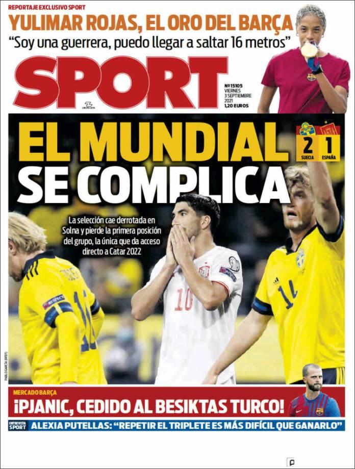 Portadas Deportivas de España 3/9/2021