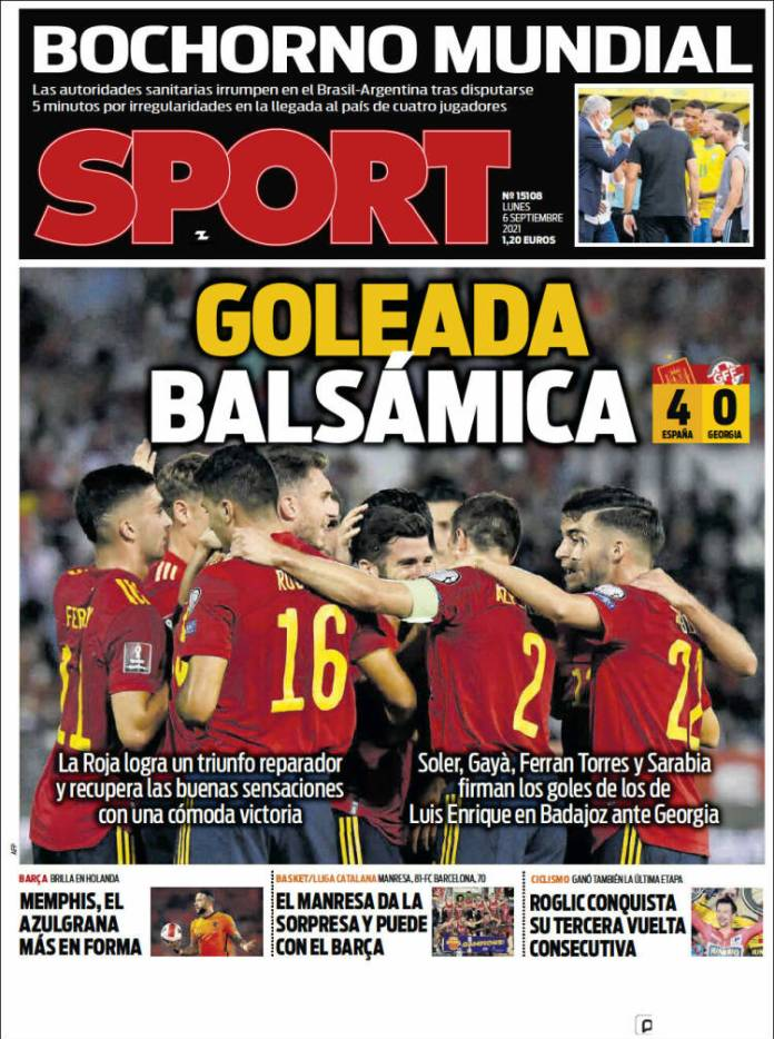 Portadas Deportivas de España 6/9/2021