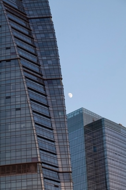 Moon Behind Buildings, Xiamen