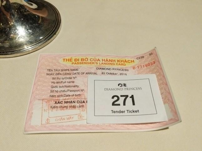 Tender Boat Ticket, Landing Card