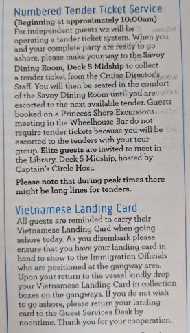 Tender Ticket Information