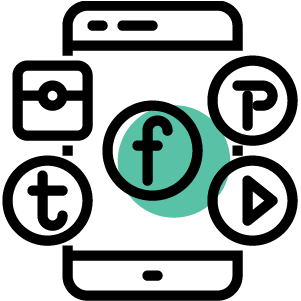 Social media icon with facebook Pinterest, youtube and Instagram