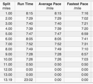 Runmeter split time through mile 10