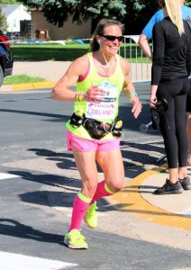Rounding the final corner at Lola's Half Marathon