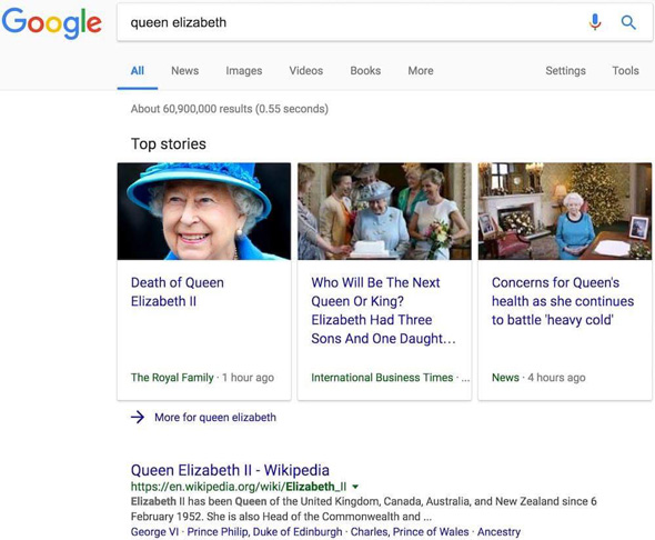 the web page on the royal family website was listed on google news