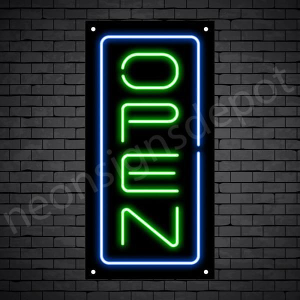 Vertical neon open sign green-blue black bg
