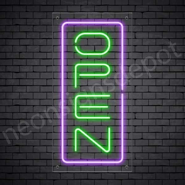 Vertical neon open sign green-purple transparent bg