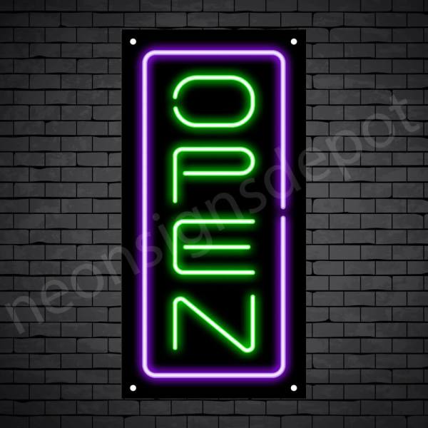 Vertical neon open sign green-purple black bg