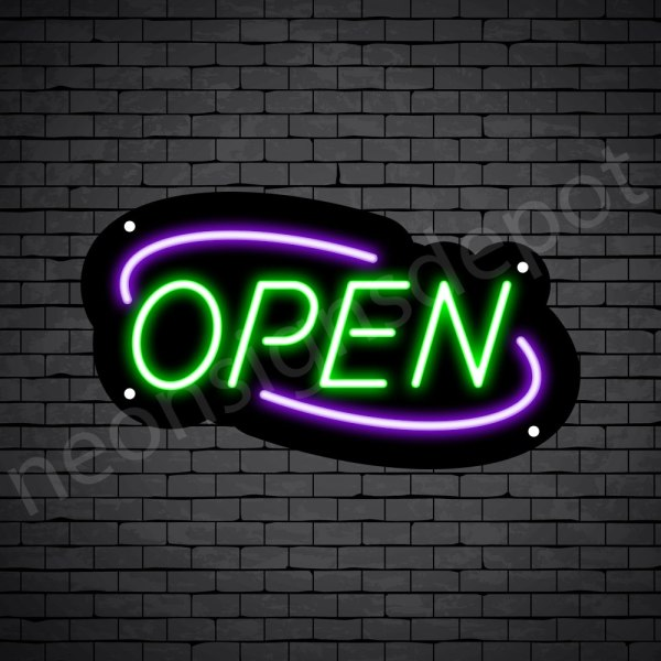 Deco Open Neon Sign Green Purple