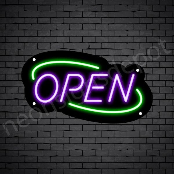 Deco open neon sign purple green